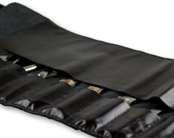Knife-roll bag  | tox leather chef bag | knife bag | unisex roll bag | Black