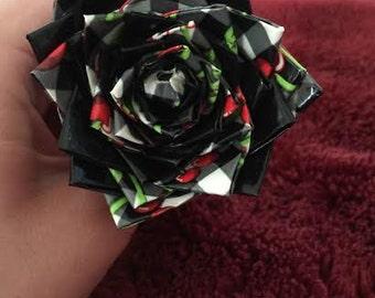 Black & Red Cherry Duct Tape Flower Pen