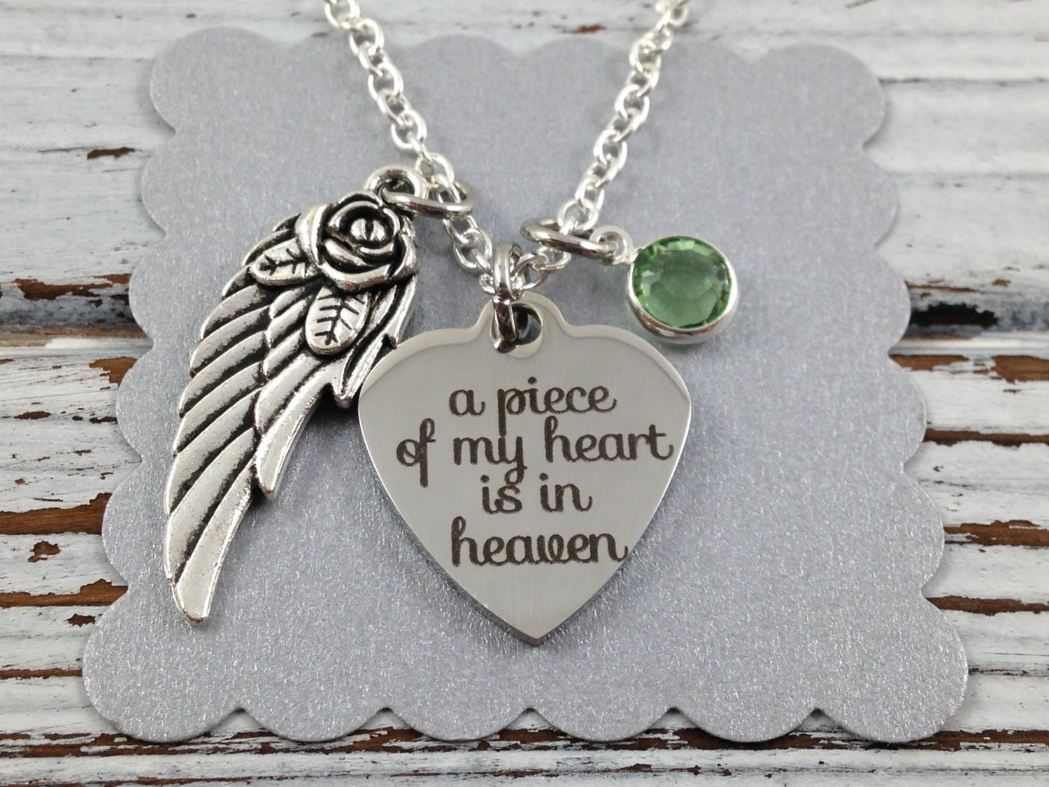 a piece of my heart is in heaven necklace memorial necklace