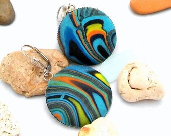 Jewelry Dangle Polymer Clay  Multicolor Earrings Hancrafted