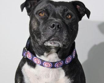 The Captain Dog Collar / Blue Red Dog Collar / Handmade Dog Collar