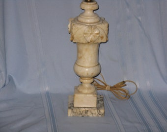 Vintage carved alabaster stone marble table lamp