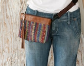 Brown Leather Fanny Pack - Travel Pouch - Passport Holder - Ethnic Leather Clutch - Convertible Leather Shoulder Bag