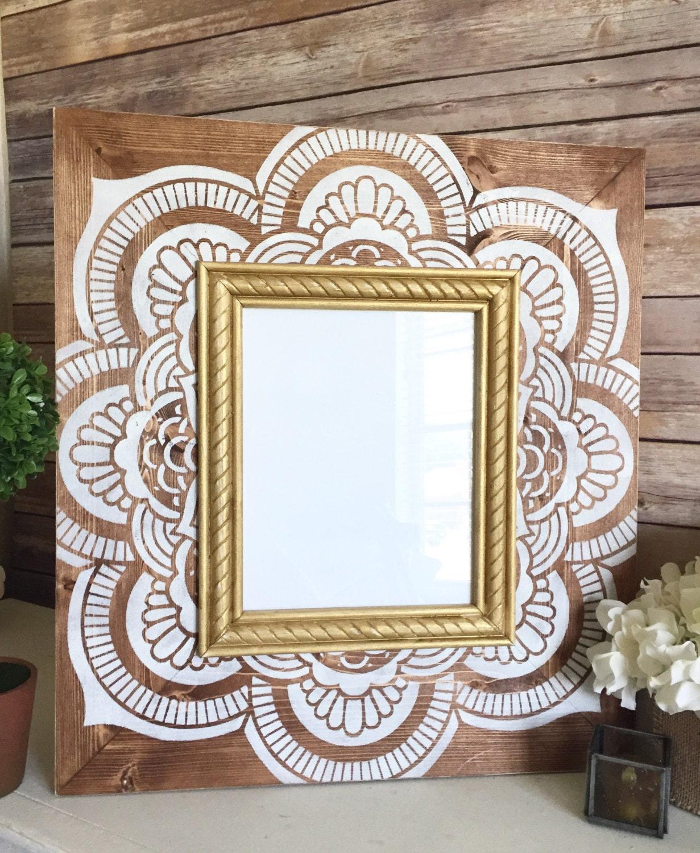 Mehndi Decoration Germany : Shabby chic wood frame in vintage white henna pattern on