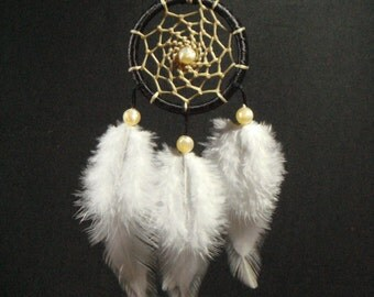 Black Ribbon Small Dreamcatcher With White Feather / Home Decor / Car Mirror