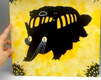 Cat Bus Acrylic painting art wall decor, Totoro from Studio Ghibli, hard canvas art decor,  house warming gift
