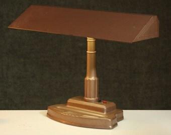Handsome ART DECO Metal Banker's Desk LAMP Mid Century Lighting