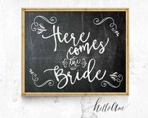 wedding sign - happy ever after sign - here comes the bride sign - chalkboard wedding - wedding props - summer wedding sign - custom wedding