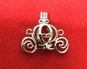 Cinderella Carriage Pearl Cage Charm Pendant