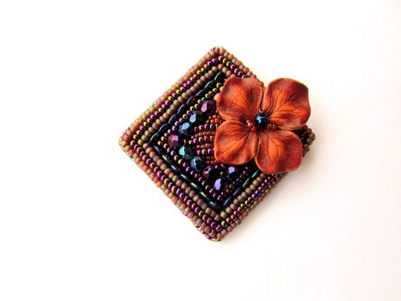 Beadwork brooch - violet purple multicolored bead embroidery brooch - Square brooch - artisan brooch pin - Heat of the Moment