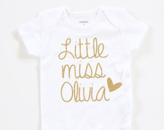 Baby girl clothes, Little Miss Personalized Gold Glitter Onesie, Gold Glitter baby shirt, onesie and leg warmers set, baby headband