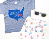 """boys 4th of july """"Land That I Love"""" america vinyl applique american apparel shirt by sweet sprouts"""