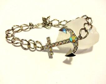 Anchor Bracelet, Beach Bracelet, Sailor Jewelry, Nautical Jewelry, Silver Chain Link Bracelet, Boater Gift, Marine Girlfriend, Gift Under 20