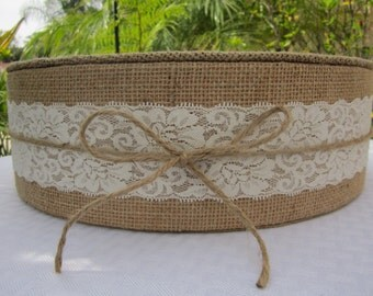 """15""""- 22"""" Burlap & Lace Round Wedding Cake Stand White or Ivory Lace tied with a Natural Jute Bow, Rustic, Cottage Chic, 4"""" tall Styrofoam"""