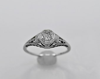 Antique Engagement Ring .28ct. Diamond & 18K White Gold Art Deco- J34133