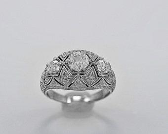 Antique 3 Stone Diamond Ring .64ct. Diamond With E.G.L. Certificate - J35577