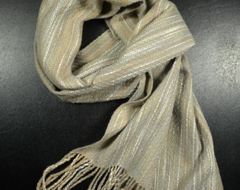 Handwoven Scarf in Grey and Tan s012d