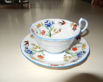 ENGLAND IRIS ROYALATHERS Crown China Teacup and Saucer Set