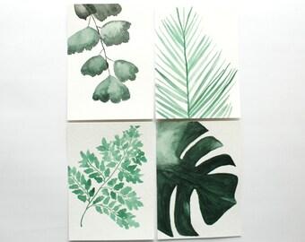 Fern Watercolor Painting, Botanical Watercolor, Zen Art, Bedroom Wall Art, Green Wall Art, Set of 4 Botanical Prints