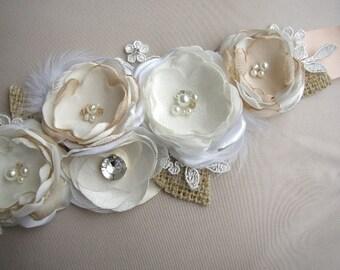 Champagne Wedding Sash, Rustic Bridal Sash, Ivory Wedding Dress Belt, Burlap Lace Wedding Sash, Wedding Sashes Belts, Rudtic Wedding Belt