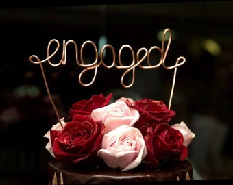 "Engaged, Cake Topper, Custom Made, Wire Cake Toppers - ""engaged"" EXPRESS POSTAGE"