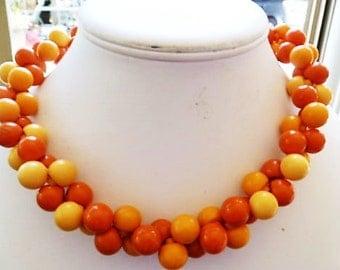 1940s Early Plastic Vintage ORANGES & LEMONS Choker Necklace