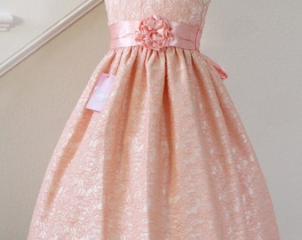 Peach Light Orange Flower Girl Dress Brocade, Available in Various Colors
