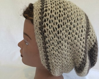 Light Tan and Grey Wool Slouchy Hat Dread Sack
