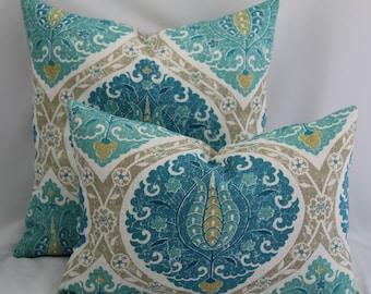 Patrina Aquifer Porfolio fabric,throw pillow,pillow cover,designer pillow,accent pillow,lumbar pillow,same fabric on front and back.