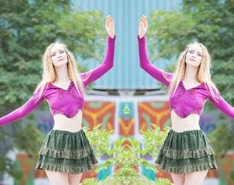long sleeve gypsy crop top tribal fusion bellydance