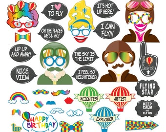 45 Funny Hot Air Balloon Photo Booth Props - Up Up and Away Birthday Party - INSTANT DOWNLOAD - DIY Printable