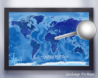 Azul World Map | Push Pin Travel Map | Gift for Student | Personalized Map | Blue World Map
