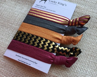 Burgundy and gold elastic hair ties - handmade in the UK