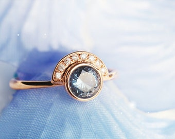 Blue spinel engagement ring, rare gem, natural blue gemstone, sapphire alternative, one carat, spinel ring,g, Unique Engagement Ring
