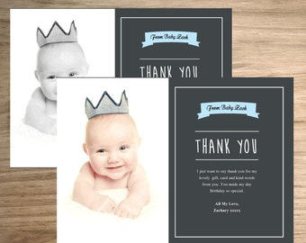 Baby thank you cards, personalised photo thank you birthday, 20 cards, photo thank you cards, boy baptism gifts