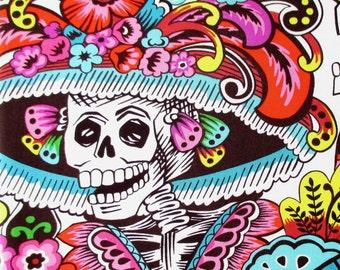 Fabric, Dia de la Catrina in Natural, Alexander Henry, BIG Day of the Dead Skulls, Last One Yard