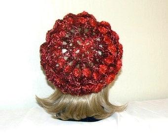 Crochet Womens Hat, Crochet Slouchy Hat, Crochet Hat slouch knit Beanie, crochet Beret, red black women hat, red black crochet hat