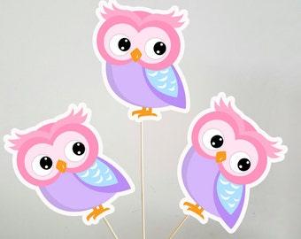 Owl Centerpieces, Pink Owl Centerpieces, Owl Birthday Centerpieces, Owl Baby Shower Centerpieces