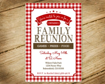Family Reunion, Picnic, BBQ, Red and White Checkers Picnic Themed Invitation