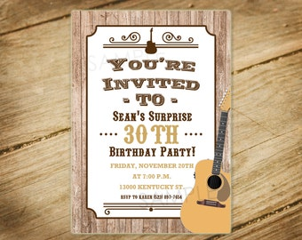 20% OFF SALE! Guitar Theme / Western Birthday Party Invitation