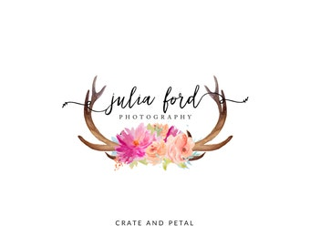 Premade Logo Design - Watercolor Flower Logo - Antler Logo - Calligraphy Logo - Photography Logo - Boutique Logo - Small Business Logo (097)