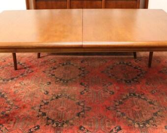 Mid Century Modern Robsjohn Gibbings Sabre Leg Mahogany Dining Table & Leaf