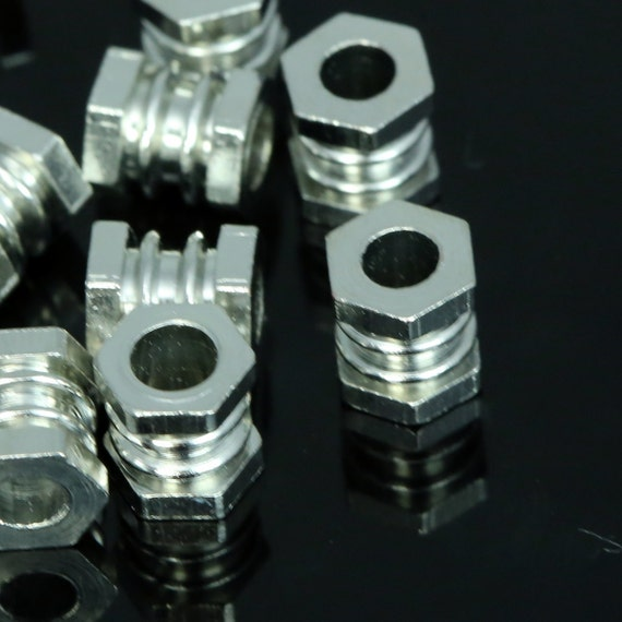 15 pcs 7x6 mm (hole 3.3 mm) silver tone brass cylinder industrial brass findings spacer bead bab3