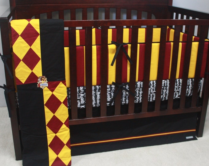 Wizard baby bedding--Red and Gold--Banner Series-MTO