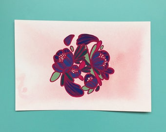 Framed Floral Gouache Painting//Purples and Pinks
