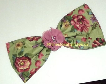 Becky Bows ~OOAK Barrette Hand crafted huge Scarf BIG hair bow Women or Girls giant sage green mauve roses