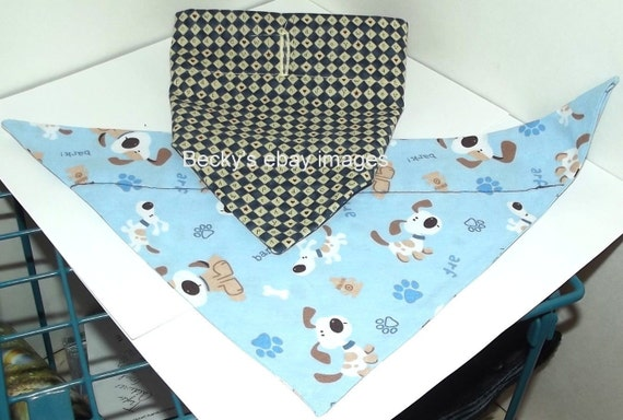 Puppy Bows~2 over the collar dog pet bandana blue large love ~US Seller
