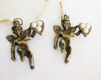 Vintage Angel Earrings / Seed Pearl Earrings / Angel Pierced Earring / Heart Earrings / Cupid Earrings/ Valentine Earring /Christmas Earring