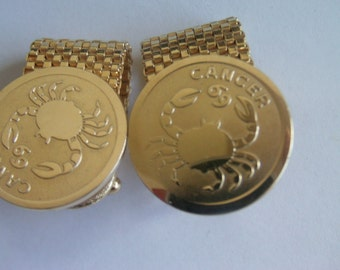 Cancer Cuff Links / Mens Cuff Links / Weave link Cuff Links / Gold Cuff Links / Cancer Sign Items / Zodiac Items / Crab Cuff Links