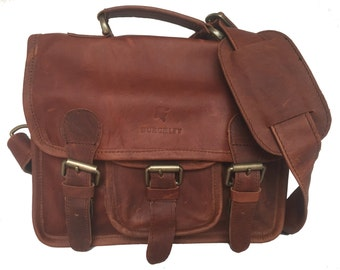 Small Brown Leather Satchel/ iPad Bag/ Messenger Bag/ Little Somerby by Burghley Bags